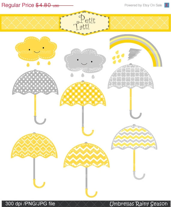 ON SALE Umbrellas clip art.