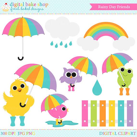 spring clip art clipart rain rainy day umbrella by PaperiePixel.