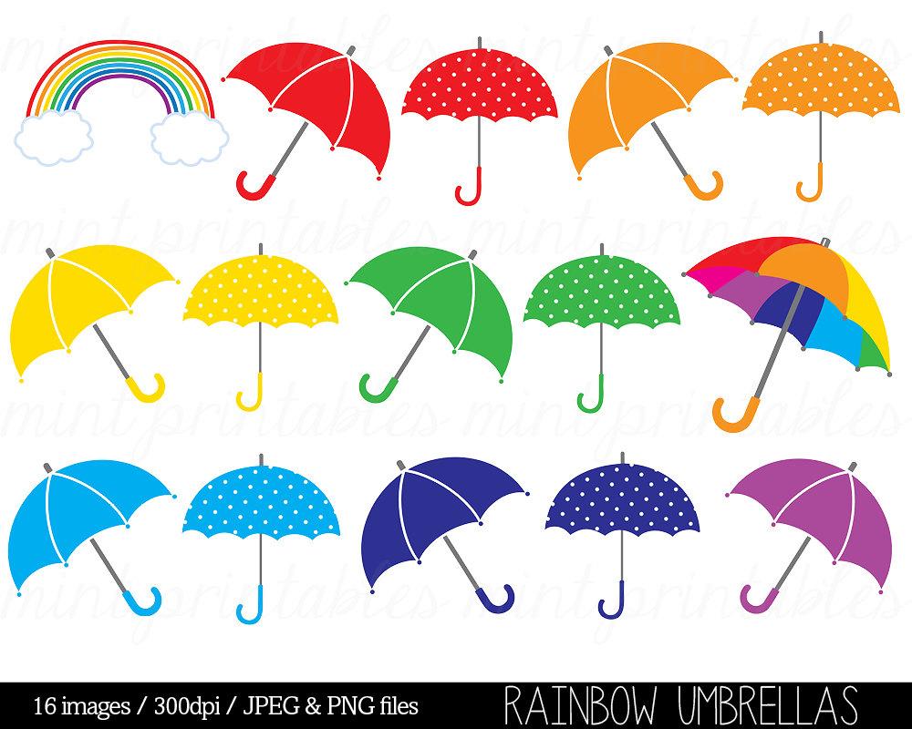 Umbrella Clipart Clip Art Rainbow Umbrellas by mintprintables.