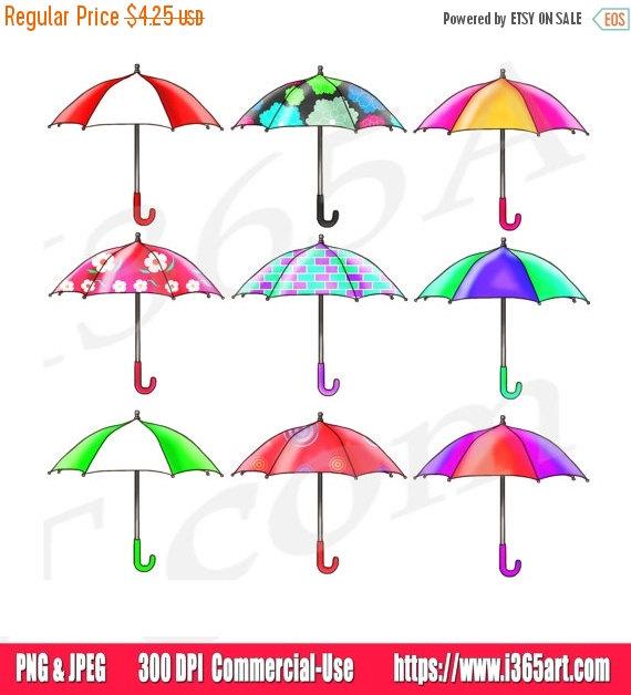 50% OFF Sale Umbrella Clipart Clip art Rain Umbrellas by I365Art.
