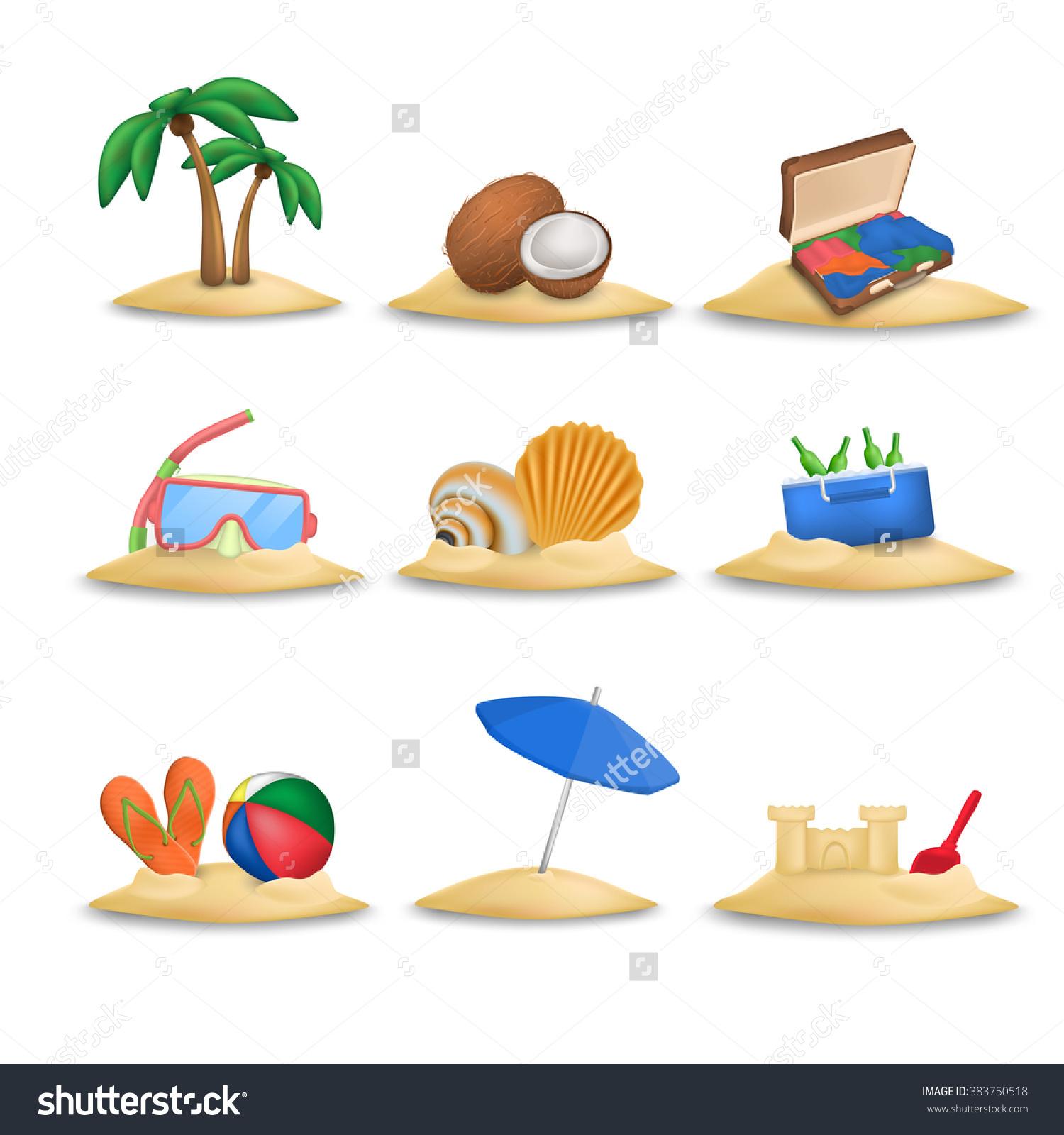 Beach Icons Set. Beach Ball And Beach Slippers. Coconuts. Beach.