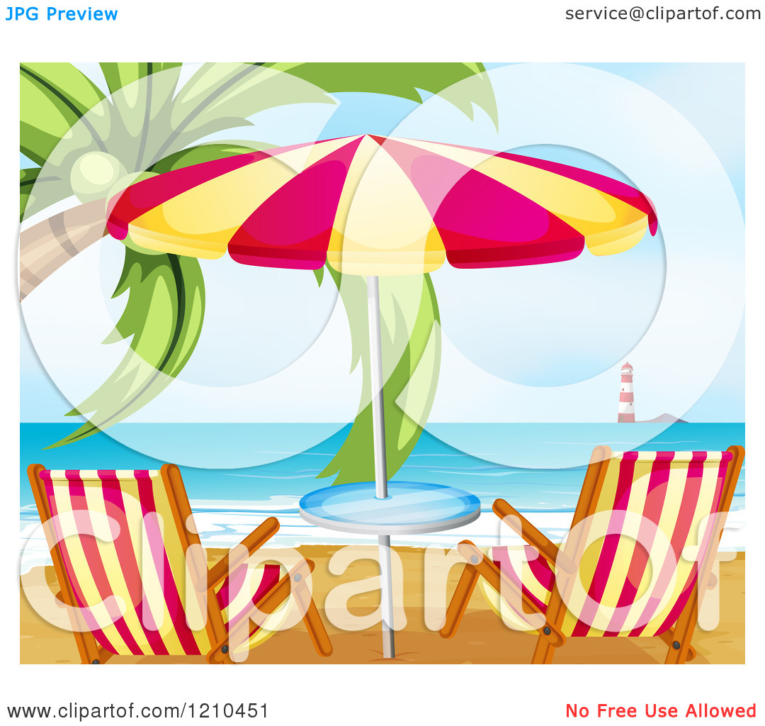 Cartoon of a Tropical Beach with a Coconut Palm Tree Umbrella and.