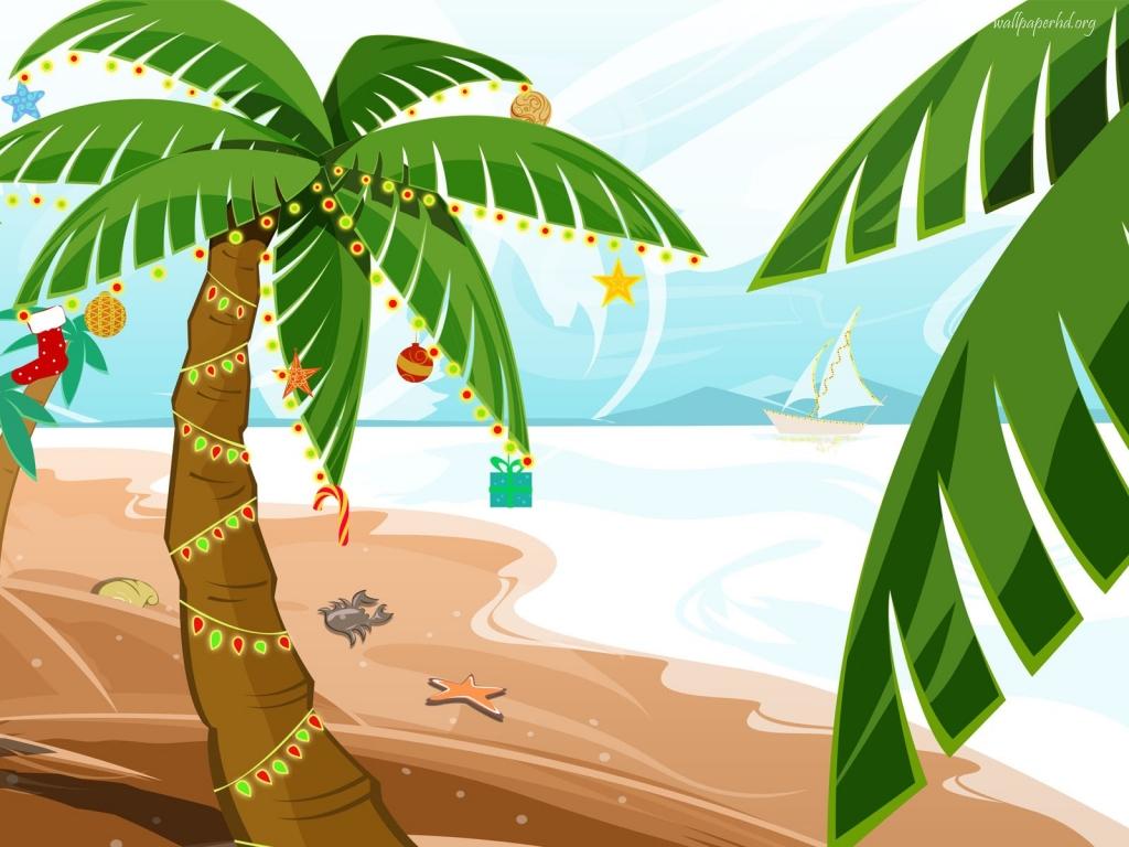 Beach chair umbrella palm tree christmas clipart.