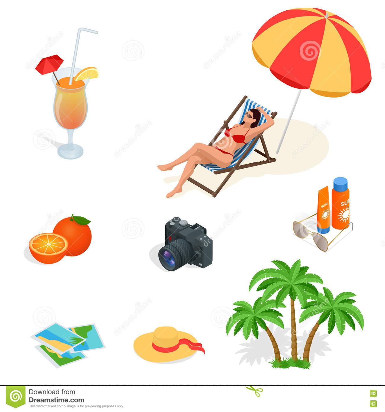 Beach Icon Set. Girl In A Swimsuit On A Deck Chair, Orange Juice.