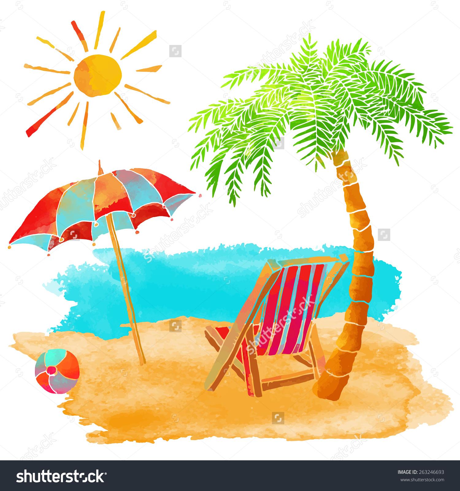 Watercolor Summer Beach Set Sea Palm Stock Vector 263246693.