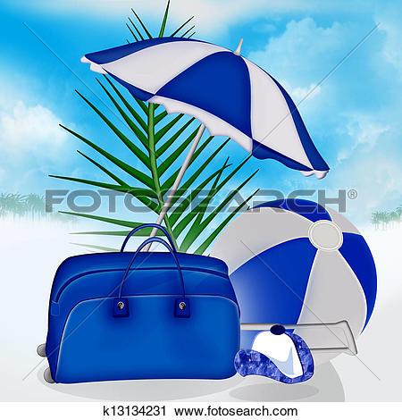 Clipart of Blue bag, ball, umbrella, palm k13134231.