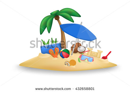 Ball Slippers Coconuts Umbrella Palm Tree Stock Vector 359956790.