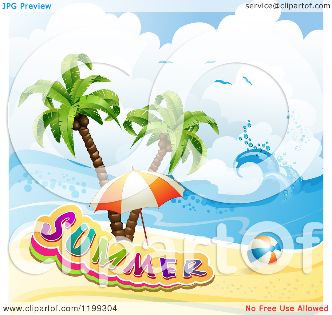 Clipart of a Ball and Beach Umbrella with Summer Text over a.