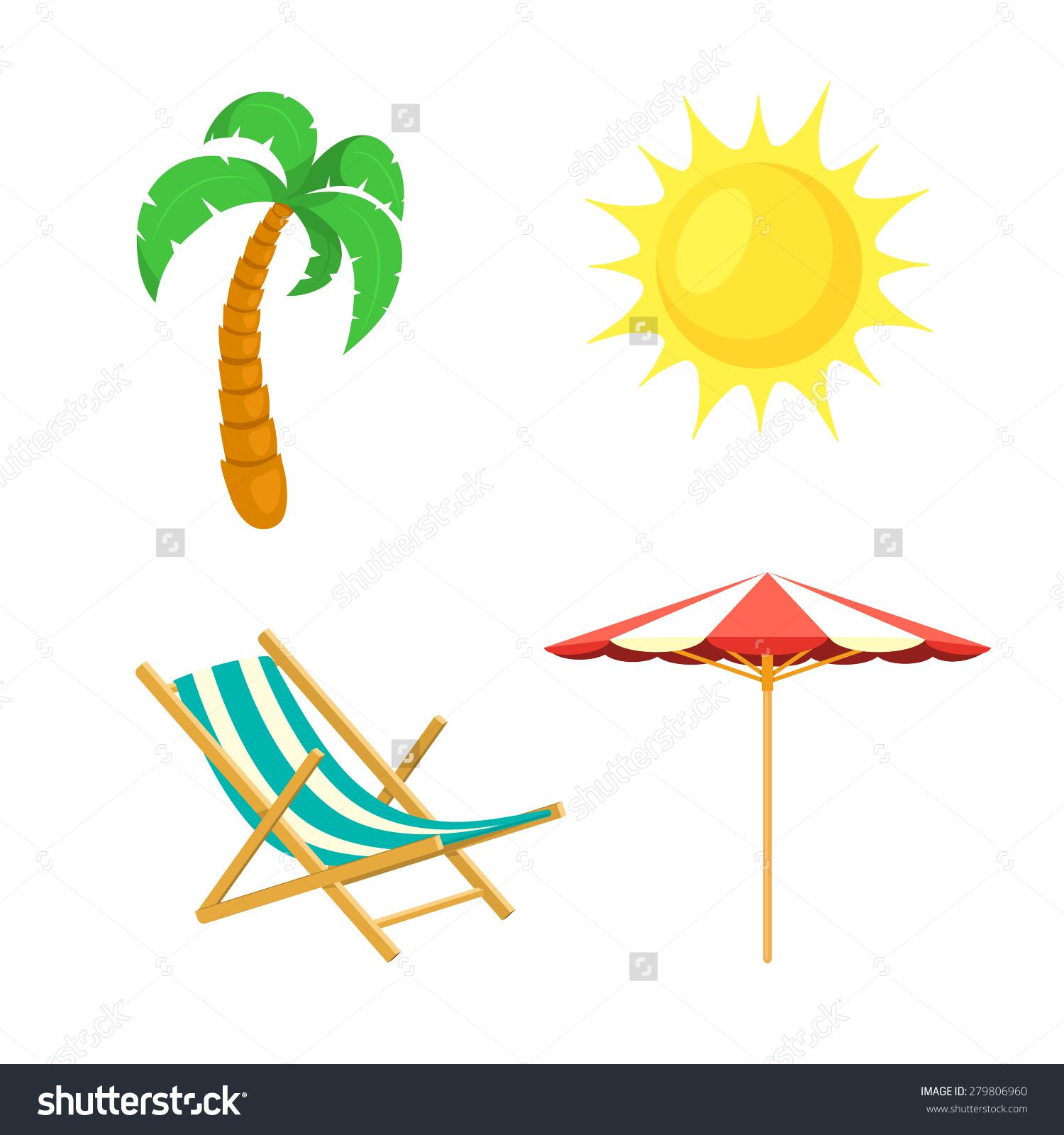 Palm Tree Sun Umbrella Deck Chair Stock Vector 279806960.
