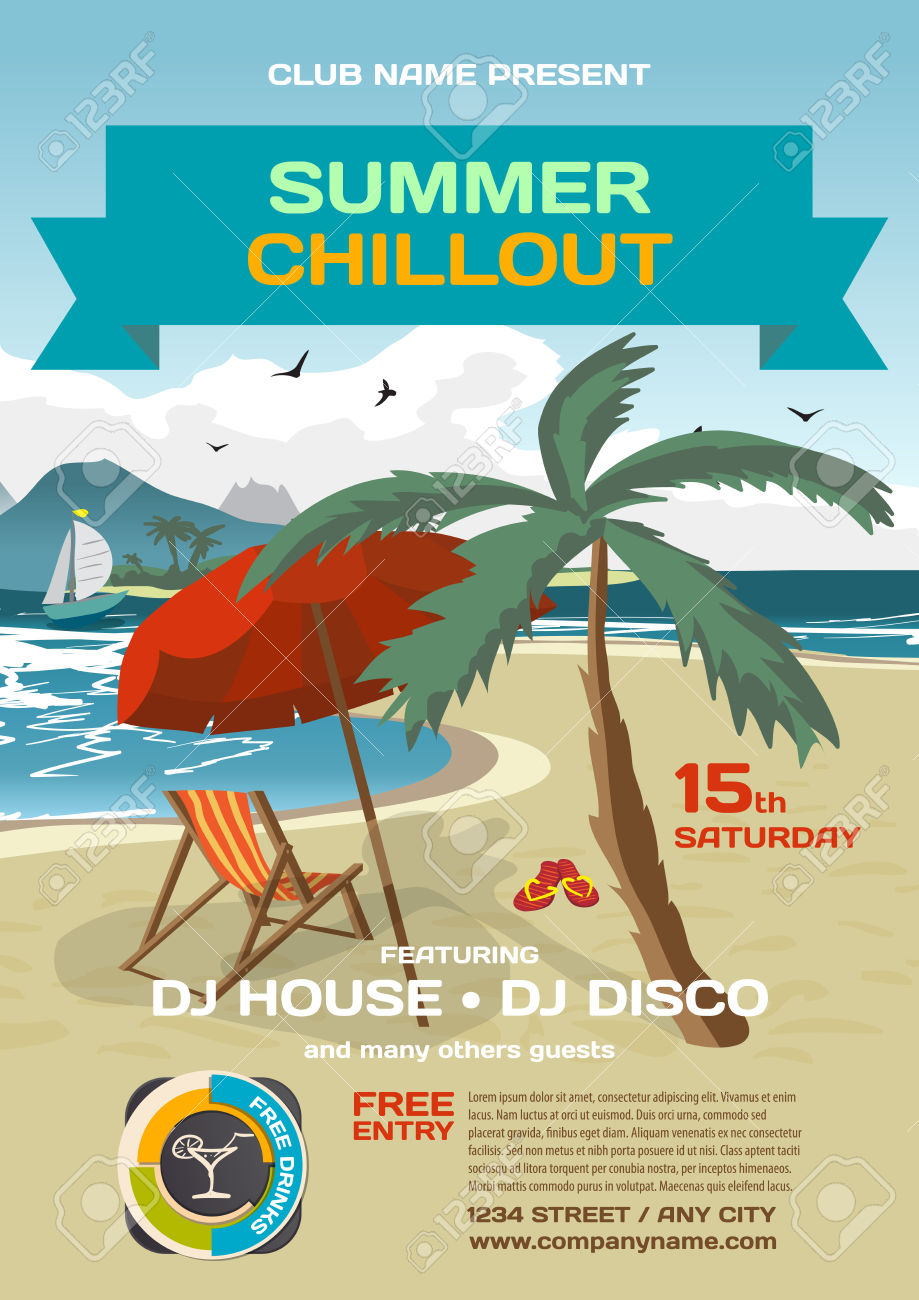 Vector Summer Party Invitation Lounge. Umbrella, Palm Tree And.