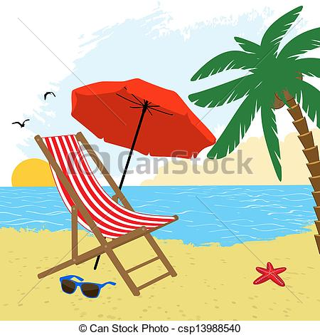EPS Vector of Chair and umbrella on the beach with palm tree.