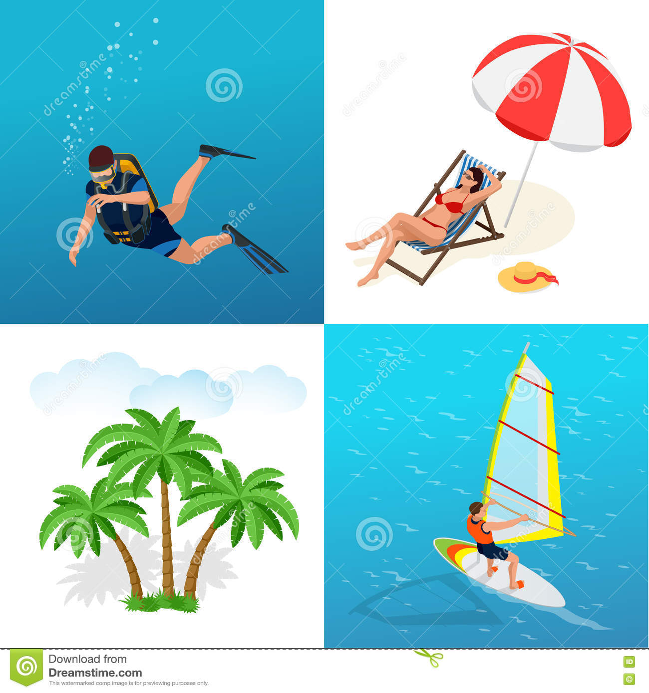 Beach Icon Set. Girl In A Swimsuit On A Deck Chair, Scuba Diver.