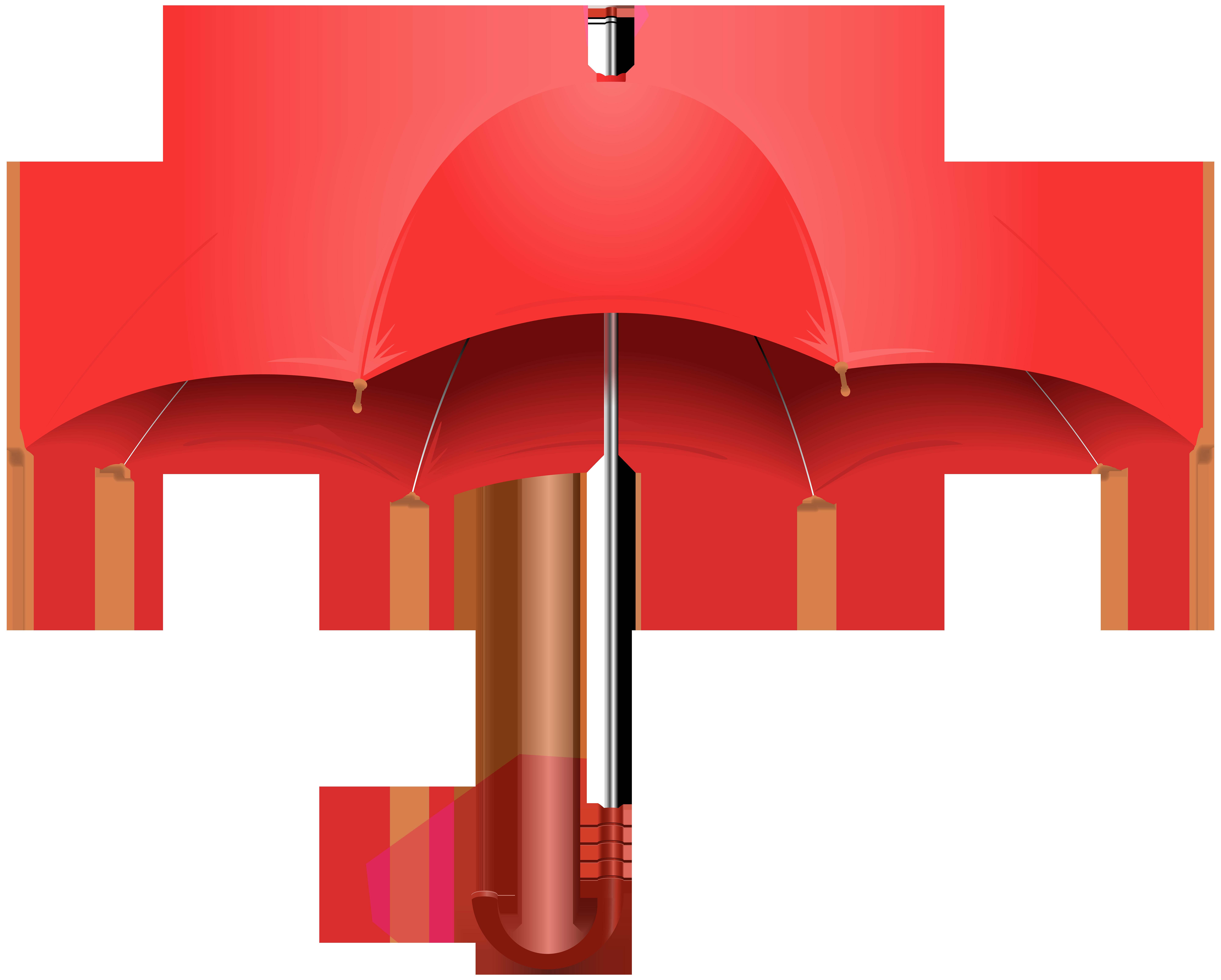 Red Umbrella PNG Clip Art Image.