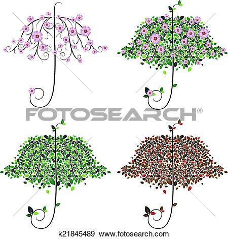 Clip Art of Umbrella Shape Tree k21845489.