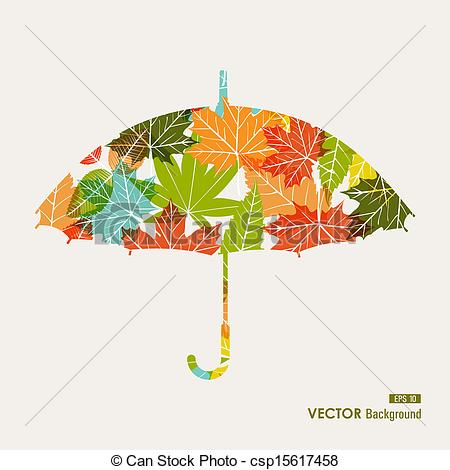 Clipart Vector of Autumn season transparent leaves umbrella shape.