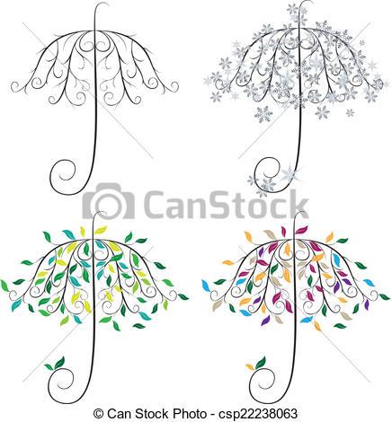 Clip Art Vector of Umbrella Shape Tree.