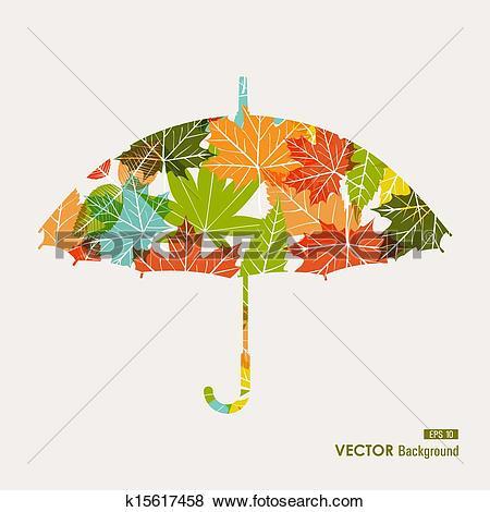 Clip Art of Autumn season transparent leaves umbrella shape.