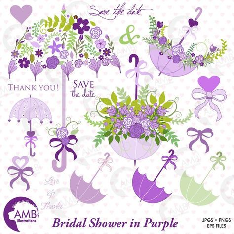 Bridal Shower clipart, Wedding clipart, Lavender Floral.