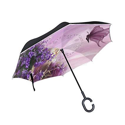 Amazon.com: Reverse Umbrella Purple Flower Clipart Butterfly.