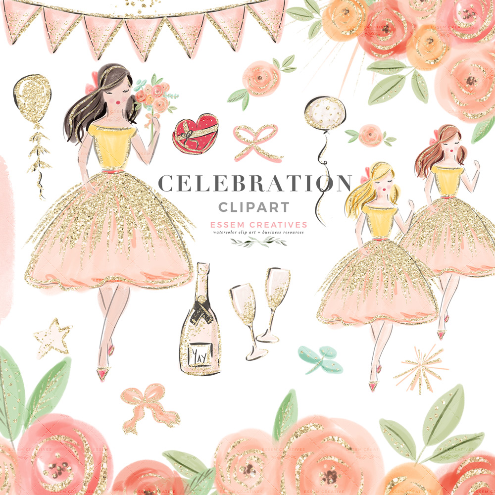 Celebration Party Fashion Girl Illustration Clipart, Valentines Day Pink  Peach Floral Planner Graphics.