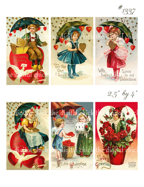 Vintage Valentine Images hearts umbrella children flowers.