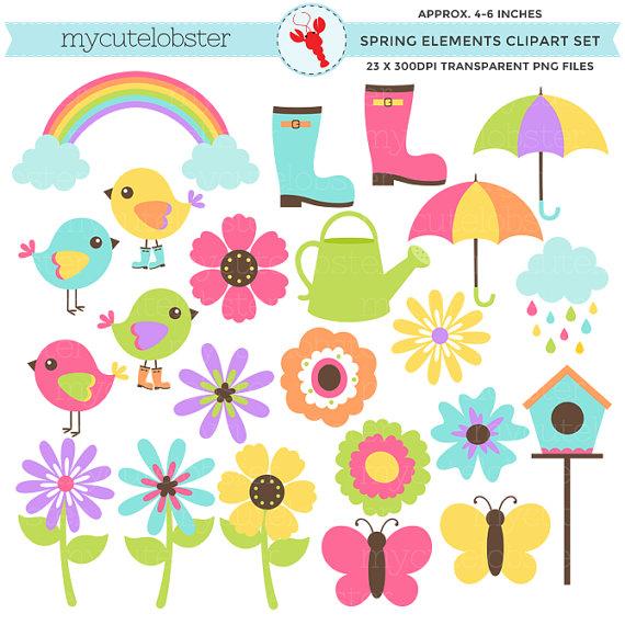 Spring Elements Clipart Set.