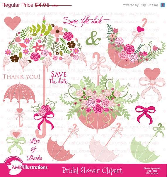 Wedding clipart, Bridal Shower clipart, Save the date.