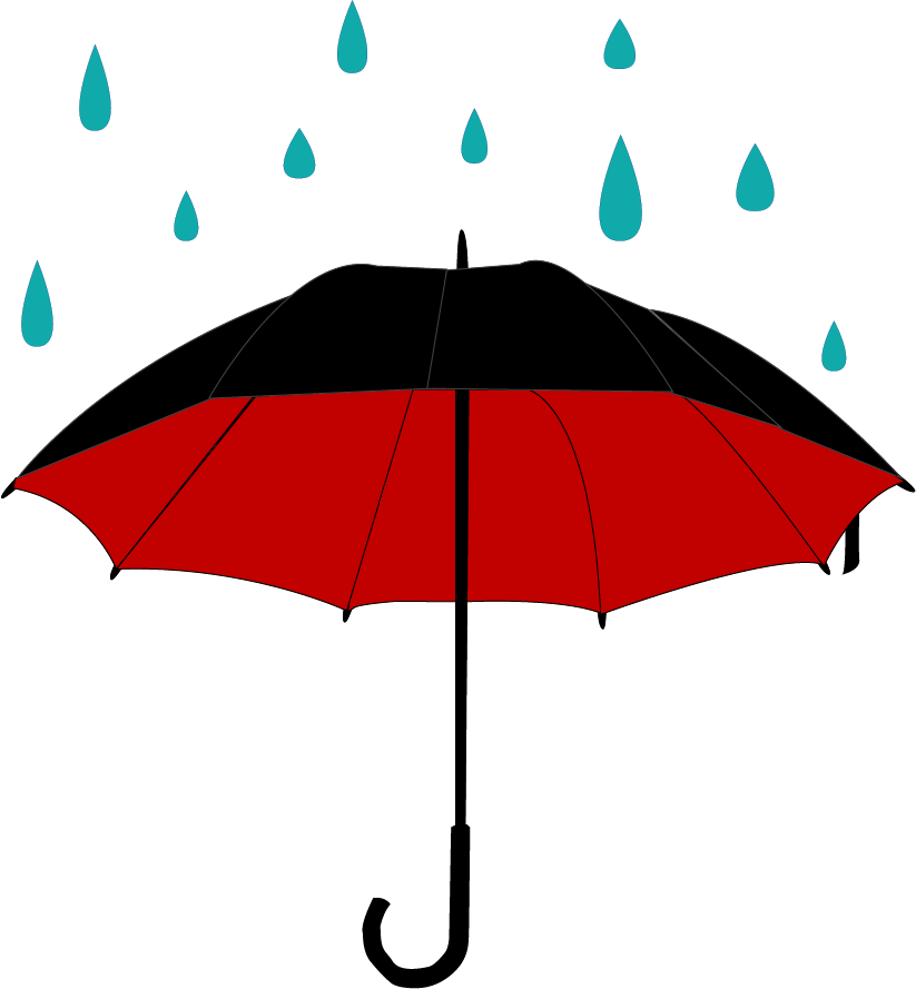 Umbrella With Rain Clipart