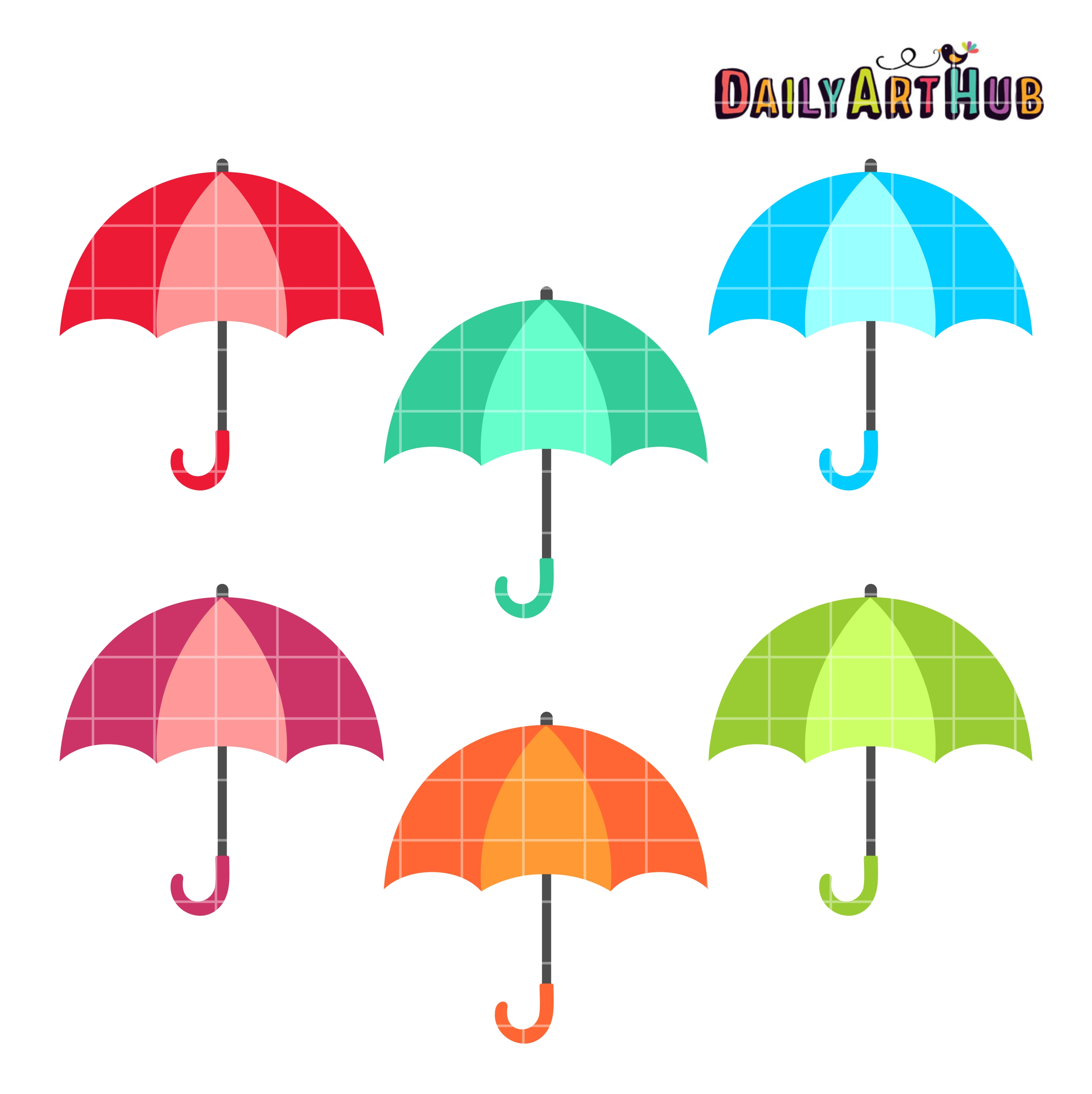 Colorful Umbrellas Clip Art Set.