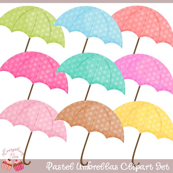 Pastel Umbrellas Clipart Set.