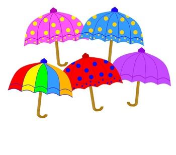 Colourful Umbrellas Clipart.