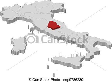 Clipart vettoriali di evidenziato, mappa, Umbria, italia.