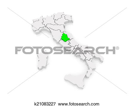 Stock Illustration of Map of Umbria. Italy. k21083227.