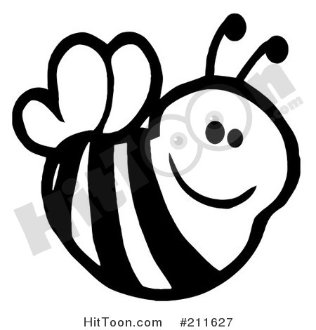 Cute Bee And Book Clipart.