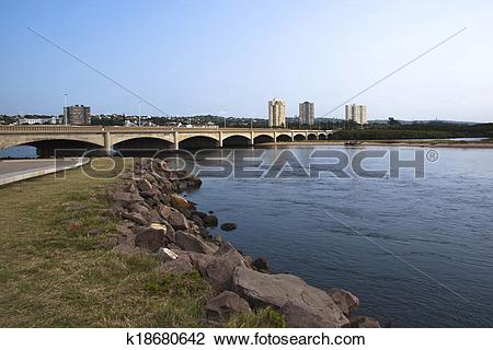 Stock Photo of Traffic Bridge Over Mouth of Umgeni River Durban.
