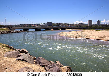 Stock Photos of Imcoming Tide at Umgeni River, Durban South Africa.
