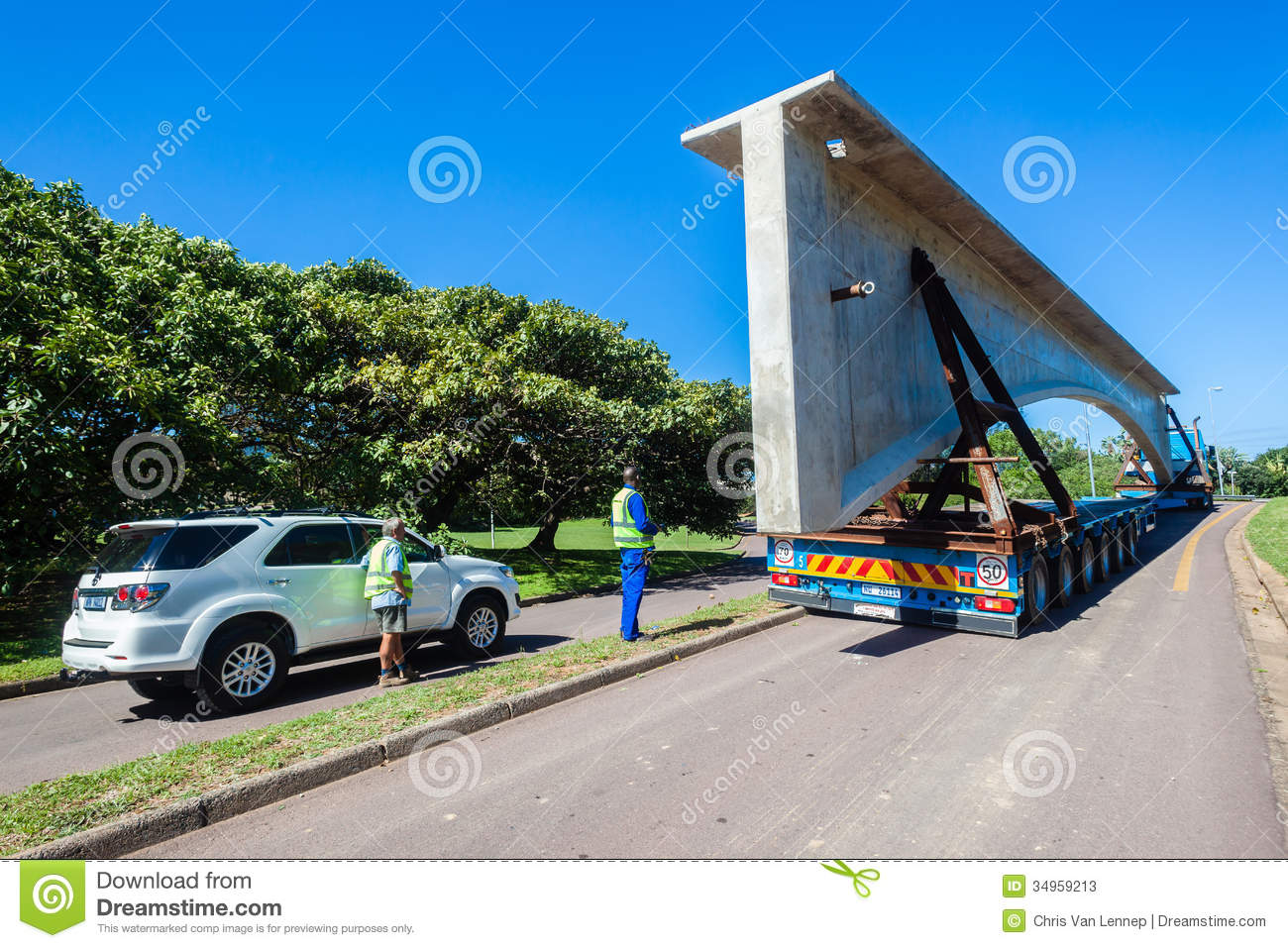 Construction Truck Trailer Bridge Section Editorial Image.