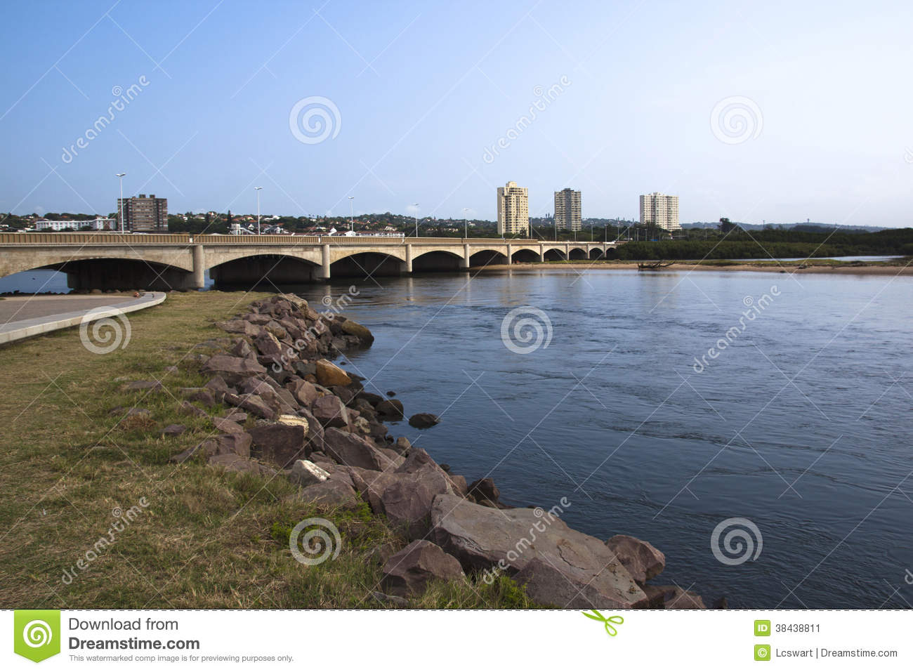 Traffic Bridge Over Mouth Of Umgeni River Durban South Africa.