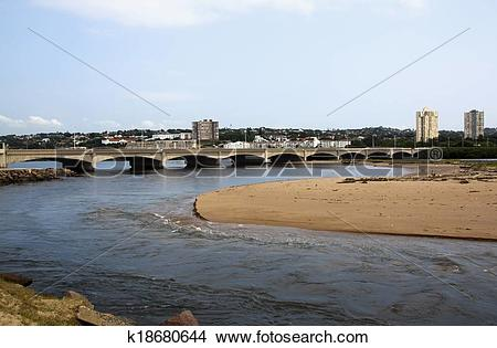 Stock Photo of Bridge Over Umgeni River Mouth in Durban, South.