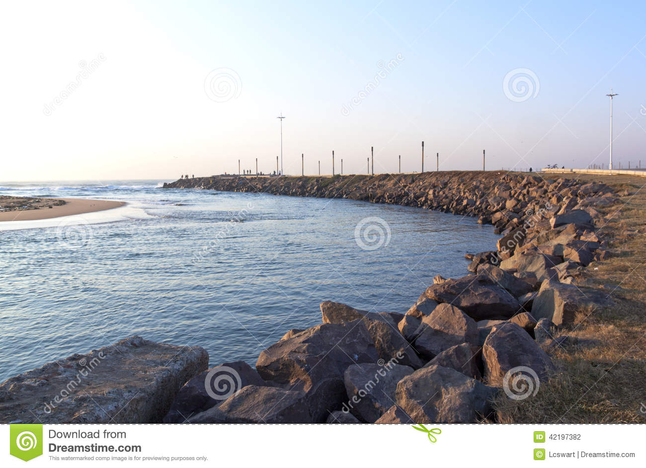 Mouth Of Umgeni River Known As Blue Lagoon Stock Photo.