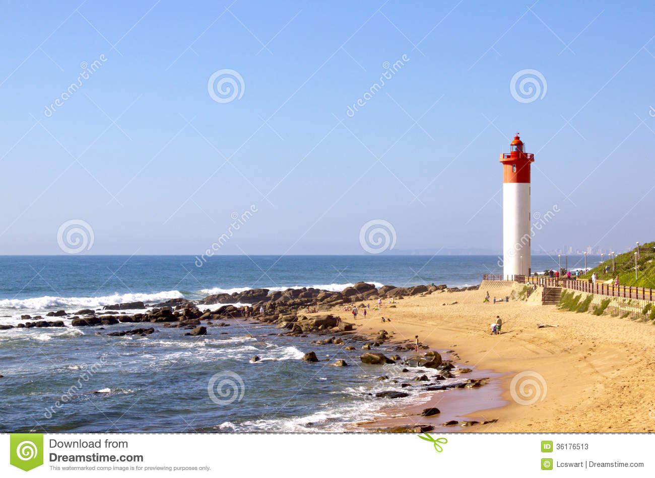 Red And White Lighthouse On Beach In Umhlanga Rocks, Durban.