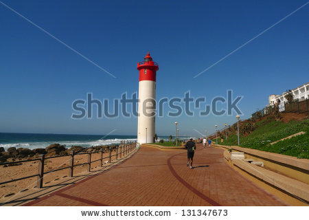Durban Boardwalk Along Indian Ocean And Umhlanga Lighthouse In.