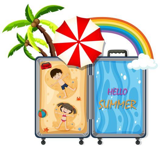 Un bagage avec un voyage à la plage.