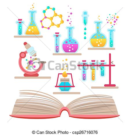 Set open book about science of chemistry..