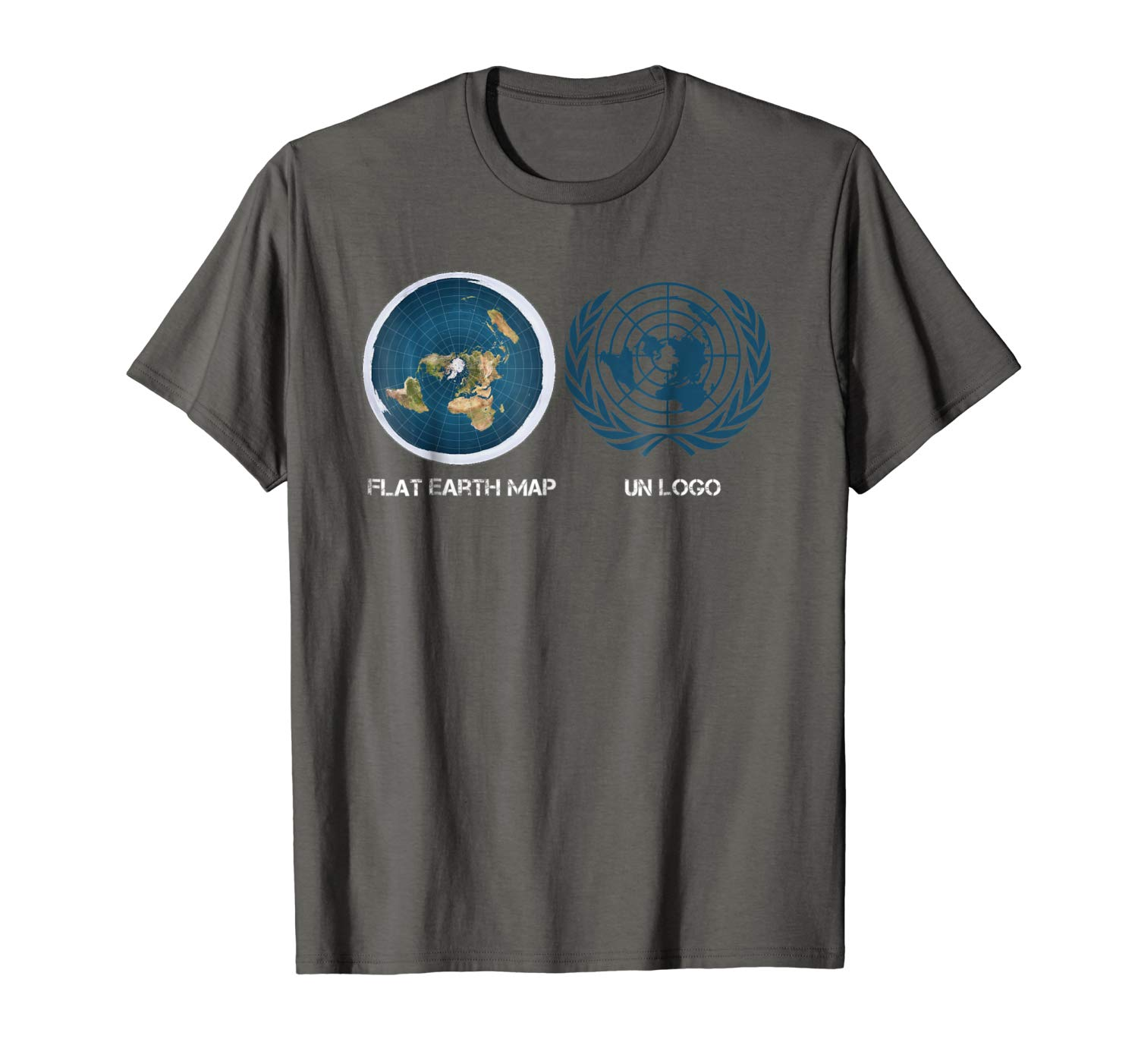 Amazon.com: Flat Earth Map Vs. United Nations Logo T.