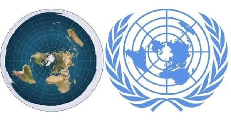 The Flat Earth map compared the UN logo.