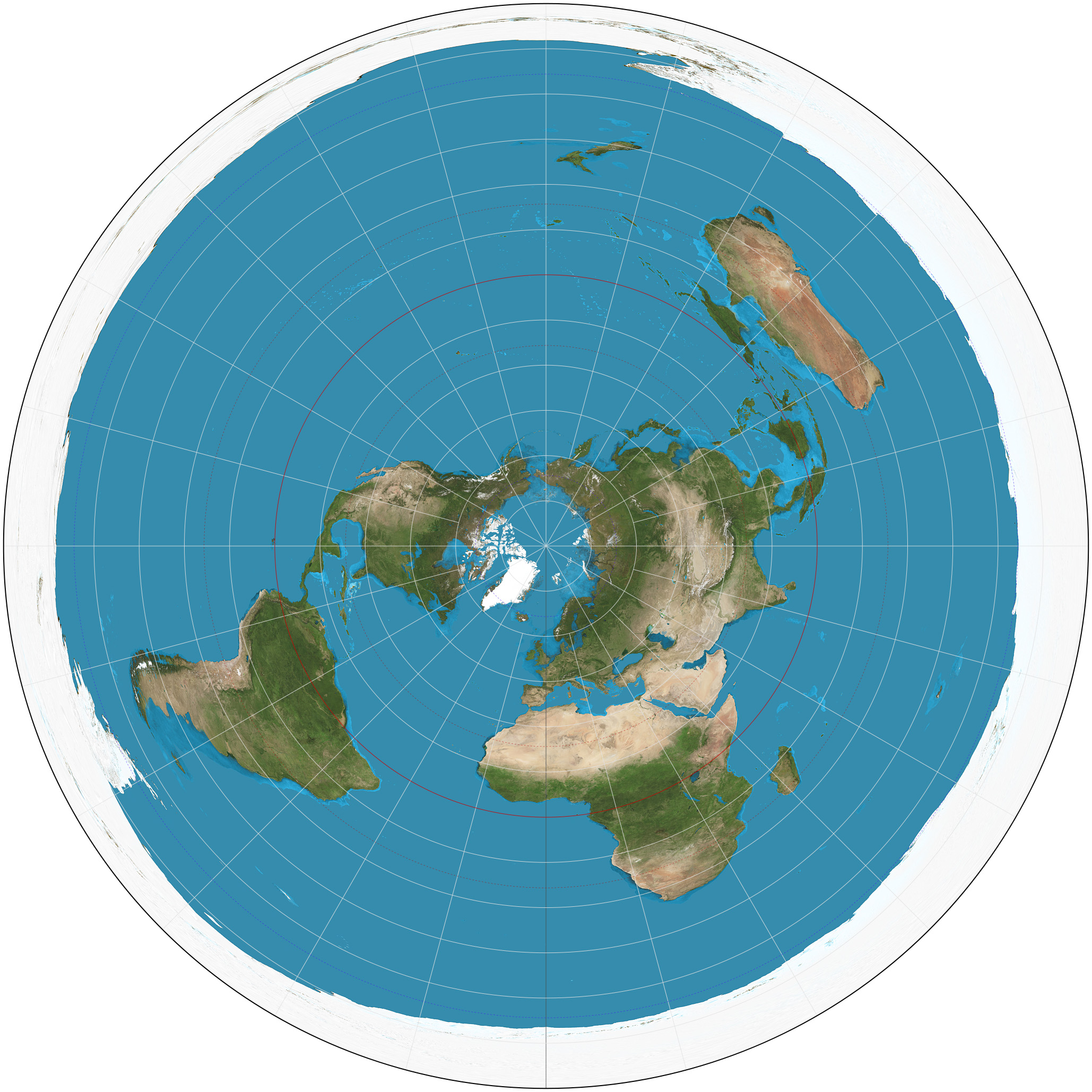 Azimuthal equidistant projection.