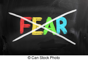 Stock Illustration of Fear Courage Buttons Show Scary Or Unafraid.