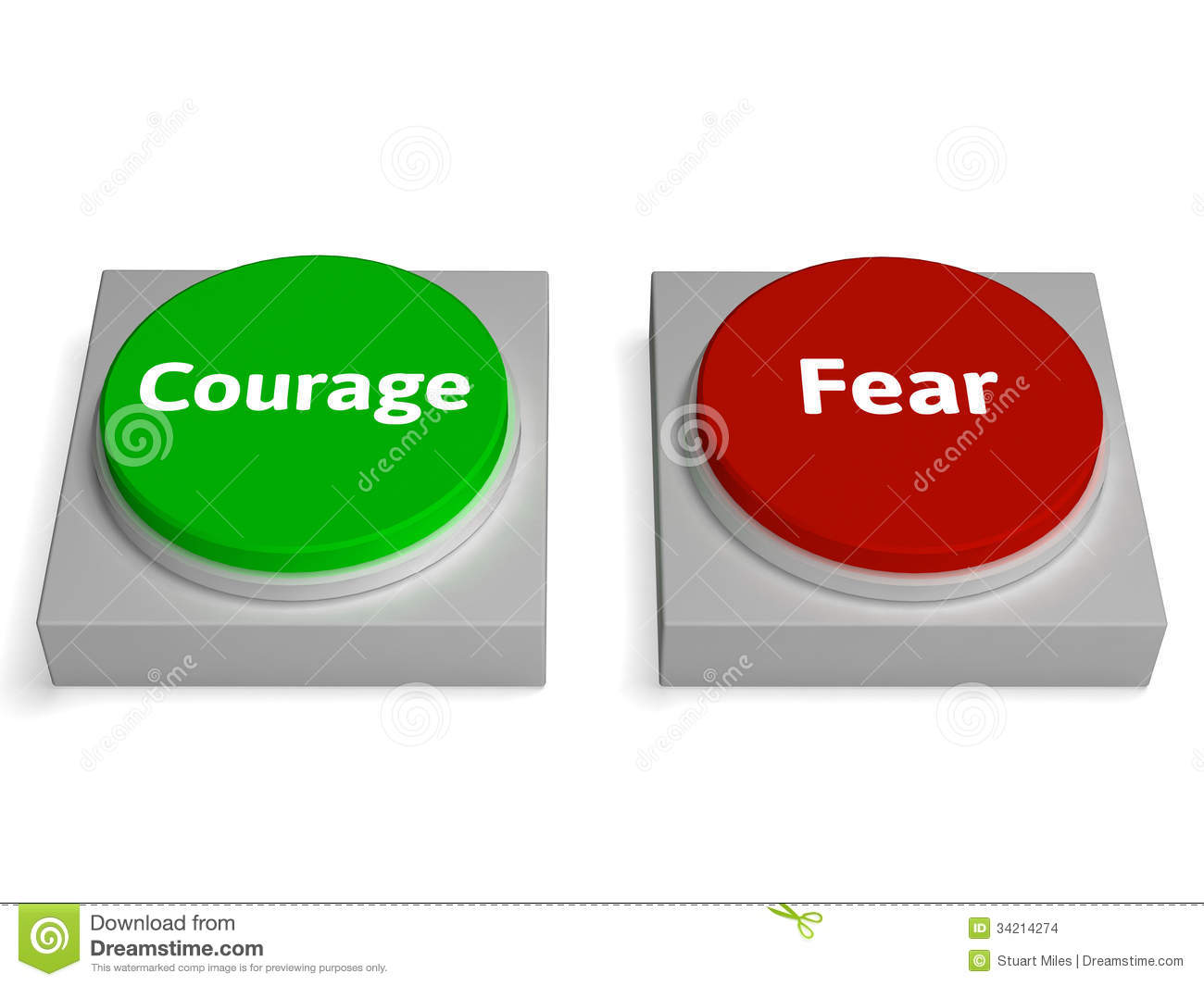 Fear Courage Buttons Show Scary Or Unafraid Royalty Free Stock.