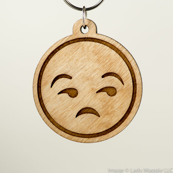 Unamused Emoji Wood Keychain Eye Roll Emoji Carved Wood Key.